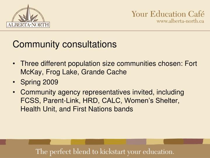 Community consultations