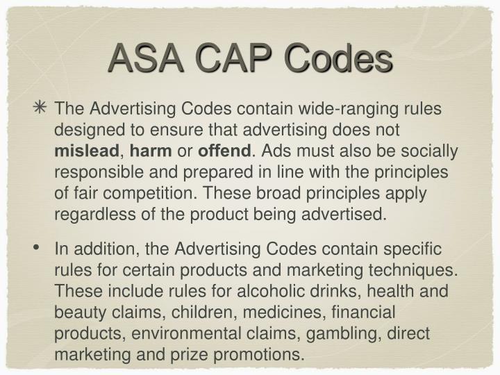 ASA CAP Codes