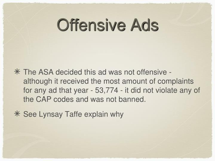 Offensive Ads