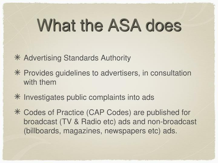 What the ASA does