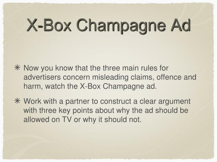 X-Box Champagne Ad