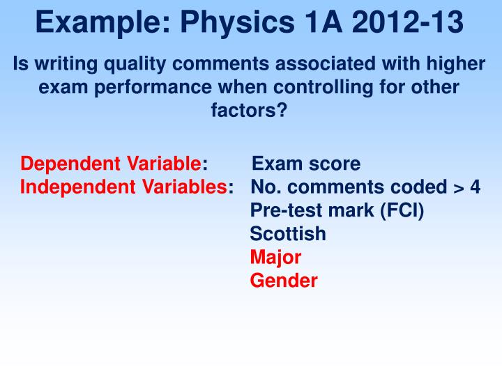 Example: Physics 1A 2012-13