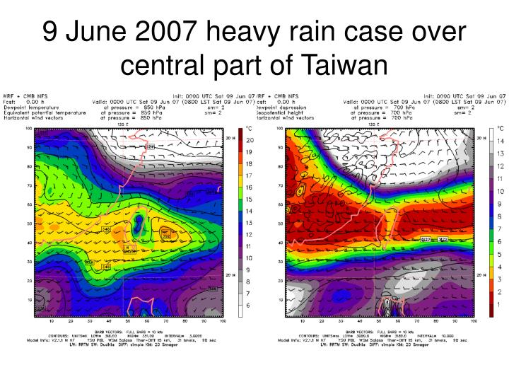 9 June 2007 heavy rain case over central part of Taiwan