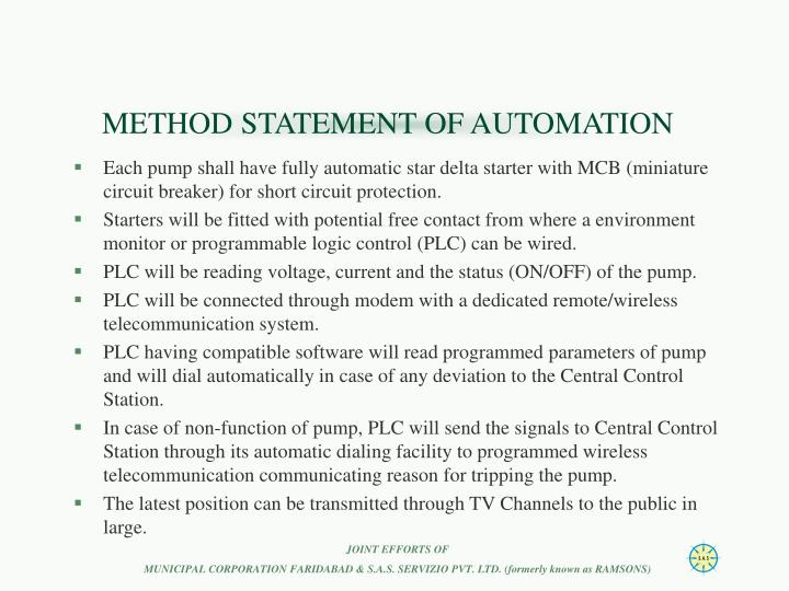 METHOD STATEMENT OF AUTOMATION