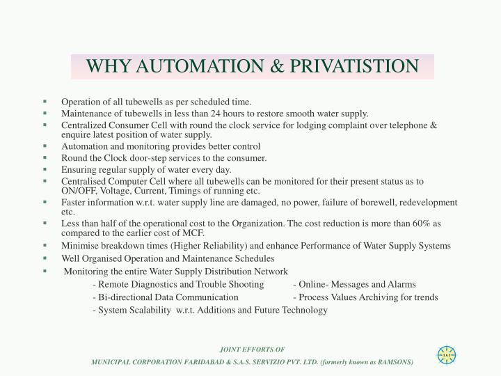WHY AUTOMATION & PRIVATISTION