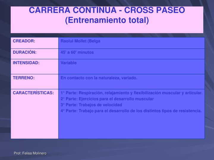 CARRERA CONTINUA - CROSS PASEO (Entrenamiento total)