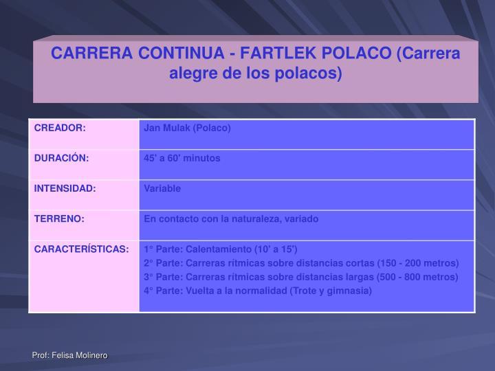 CARRERA CONTINUA - FARTLEK POLACO (Carrera alegre de los polacos)
