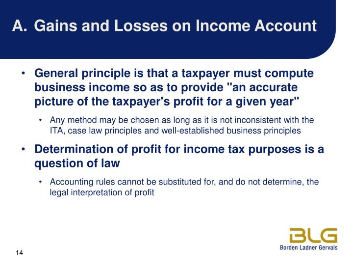 A.Gains and Losses on Income Account