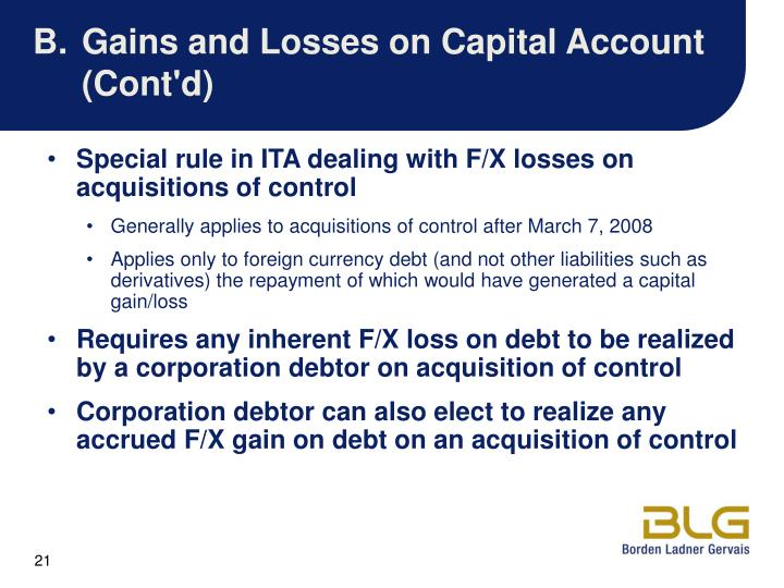 B.Gains and Losses on Capital Account (Cont'd)