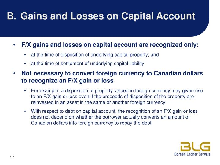 B.Gains and Losses on Capital Account