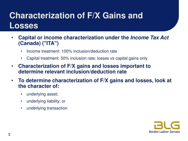 Characterization of f x gains and losses