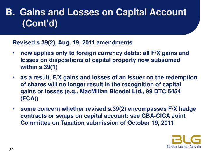 Gains and Losses on Capital Account