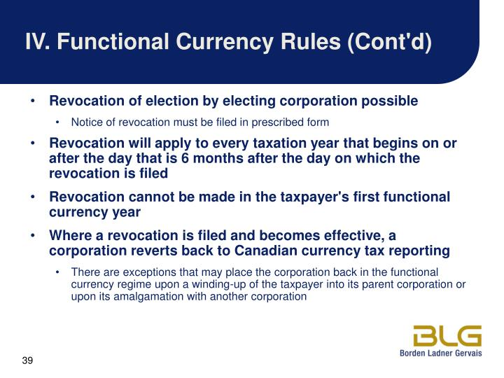 IV.Functional Currency Rules (Cont'd)