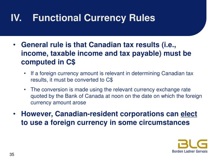IV.Functional Currency Rules