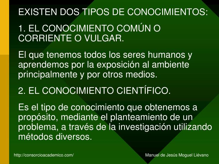 EXISTEN DOS TIPOS DE CONOCIMIENTOS: