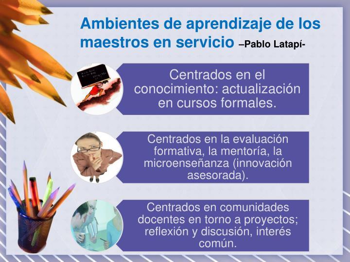 Ambientes de aprendizaje de los maestros en servicio