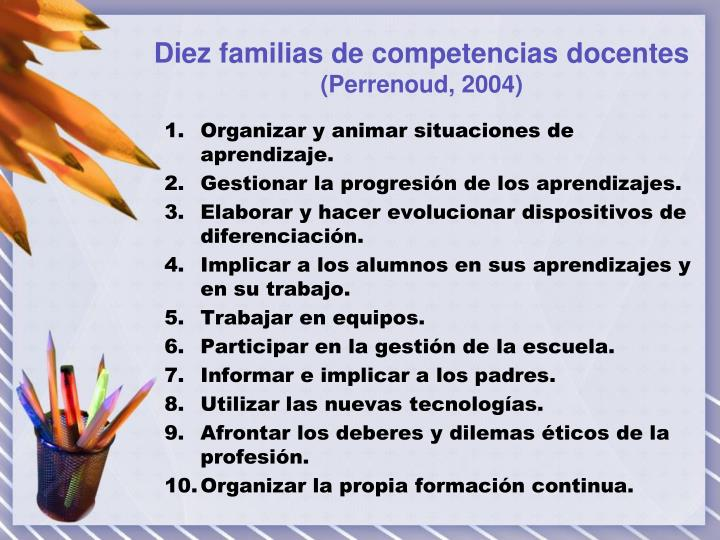 Diez familias de competencias docentes