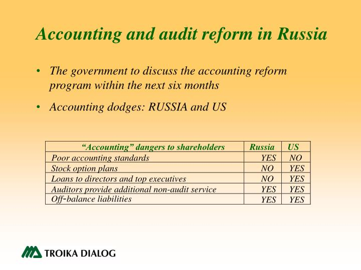 Accounting and audit reform in Russia