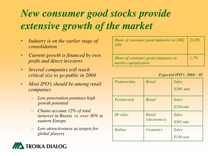 New consumer good stocks provide extensive growth of the market