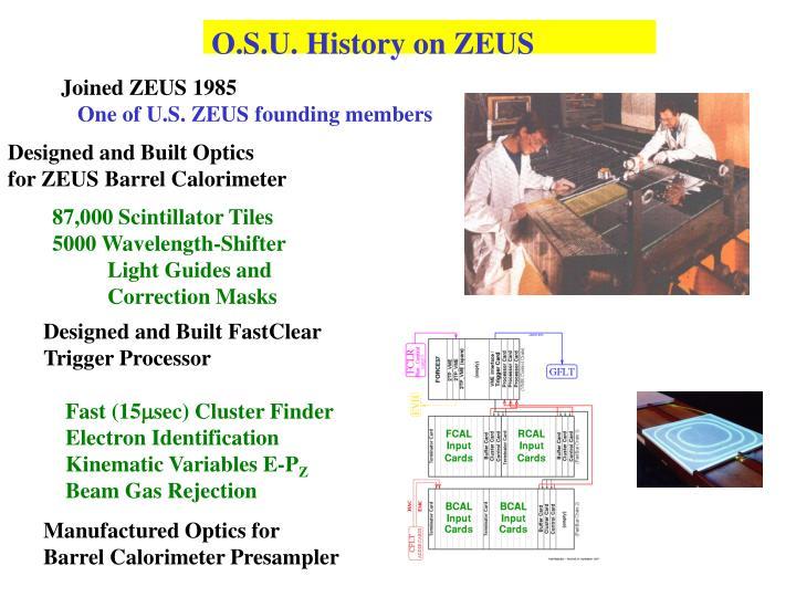 O.S.U. History on ZEUS