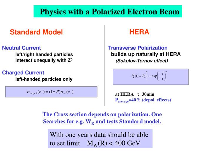 Physics with a Polarized Electron Beam