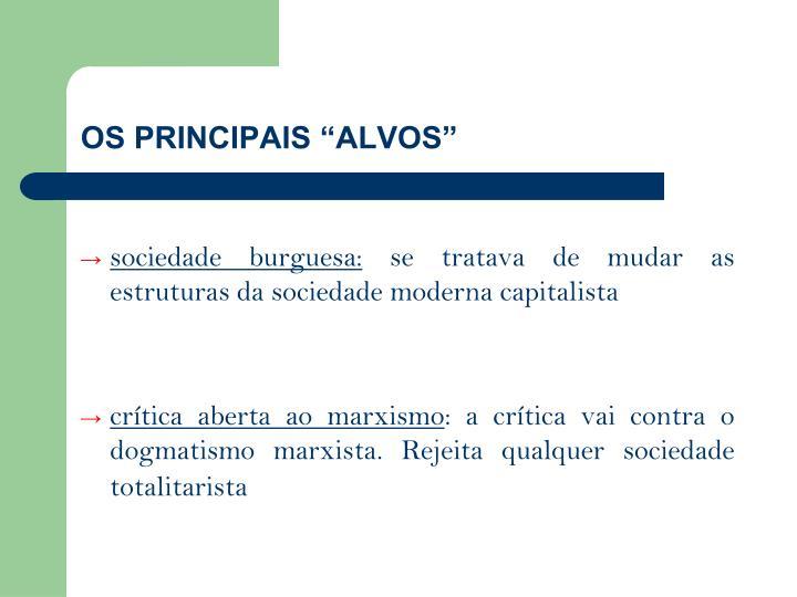 """OS PRINCIPAIS """"ALVOS"""""""