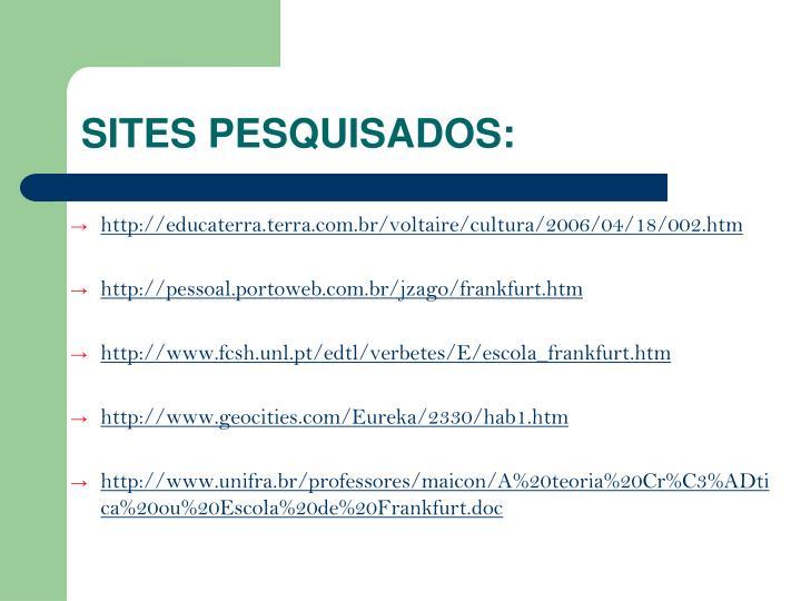 SITES PESQUISADOS: