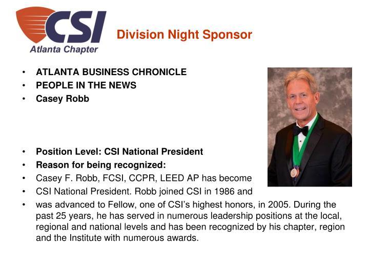 Division Night Sponsor