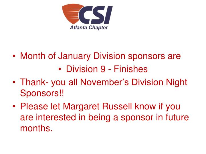 Month of January Division sponsors are