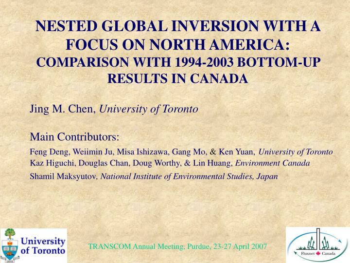 NESTED GLOBAL INVERSION WITH A FOCUS ON NORTH AMERICA: