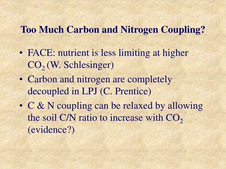 Too Much Carbon and Nitrogen Coupling?