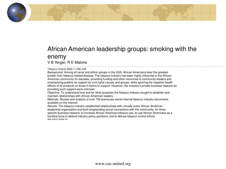 African American leadership groups: smoking with the