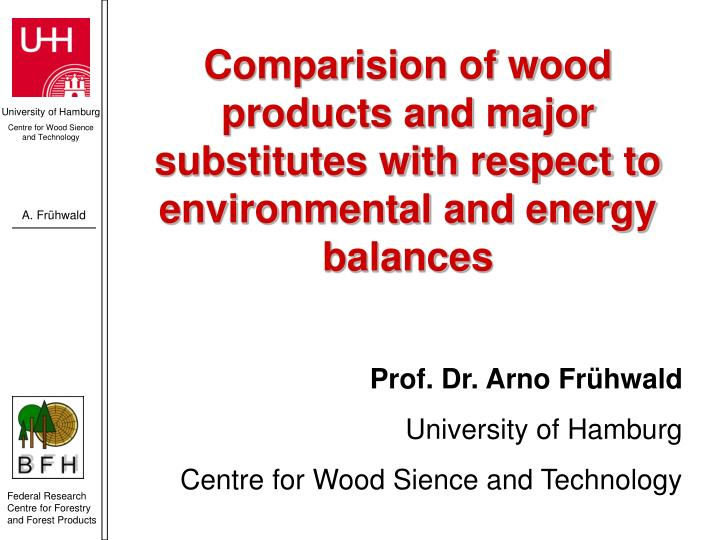 Comparision of wood products and major substitutes with respect to environmental and energy balances
