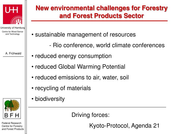 New environmental challenges for Forestry and Forest Products Sector