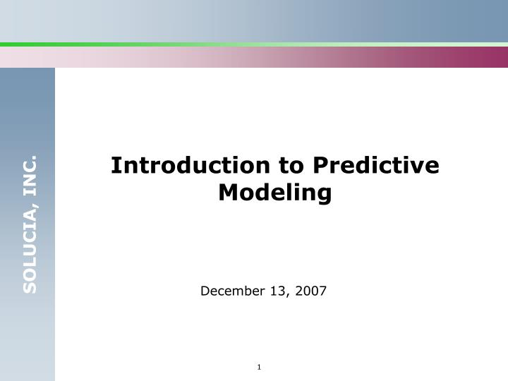 Introduction to Predictive Modeling