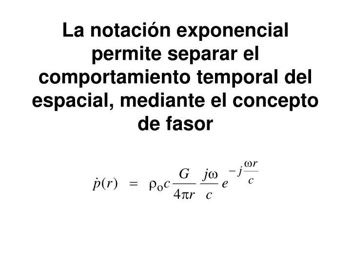 La notación exponencial permite separar el comportamiento temporal del espacial,
