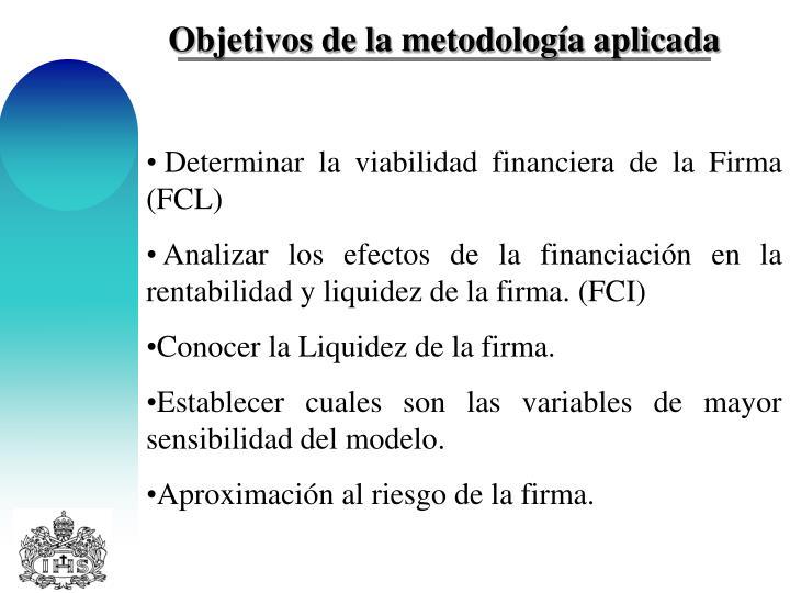 Objetivos de la metodología aplicada