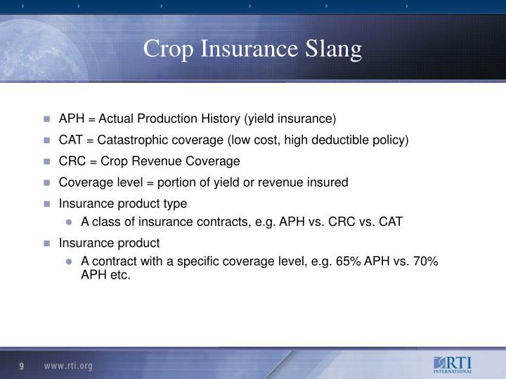 Crop Insurance Slang