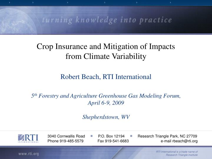 Crop Insurance and Mitigation of Impacts