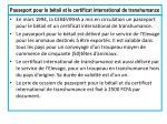 passeport pour le b tail et le certificat international de transhumance