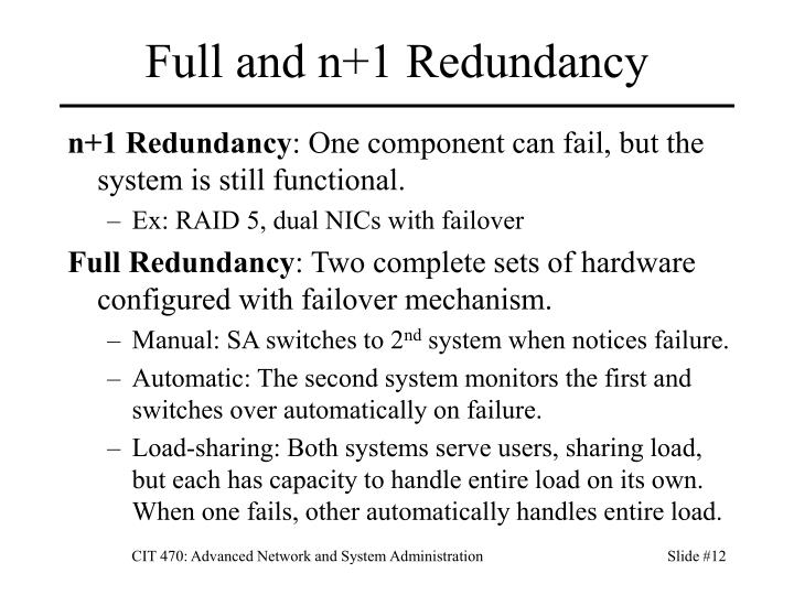 Full and n+1 Redundancy