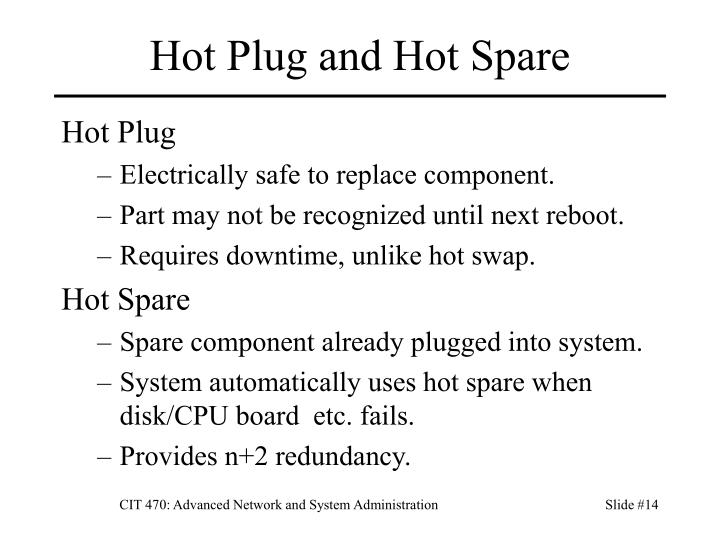 Hot Plug and Hot Spare