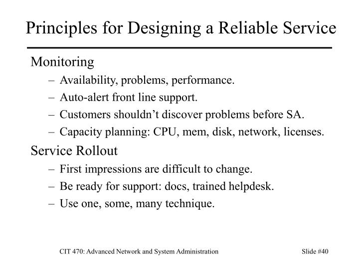 Principles for Designing a Reliable Service