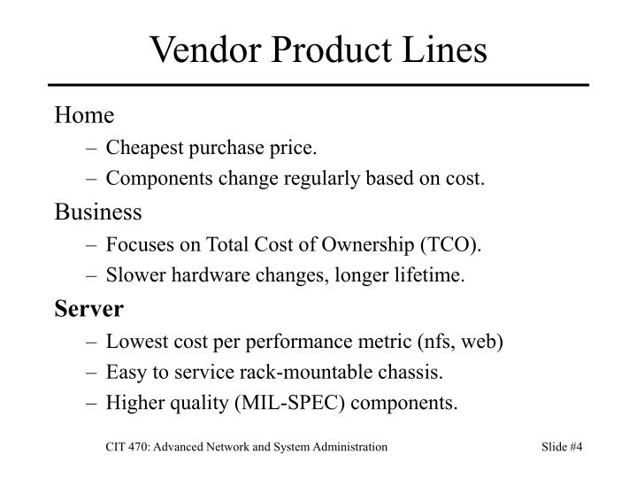 Vendor Product Lines