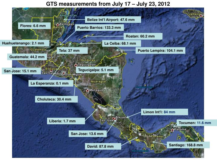 GTS measurements from July 17 – July 23, 2012