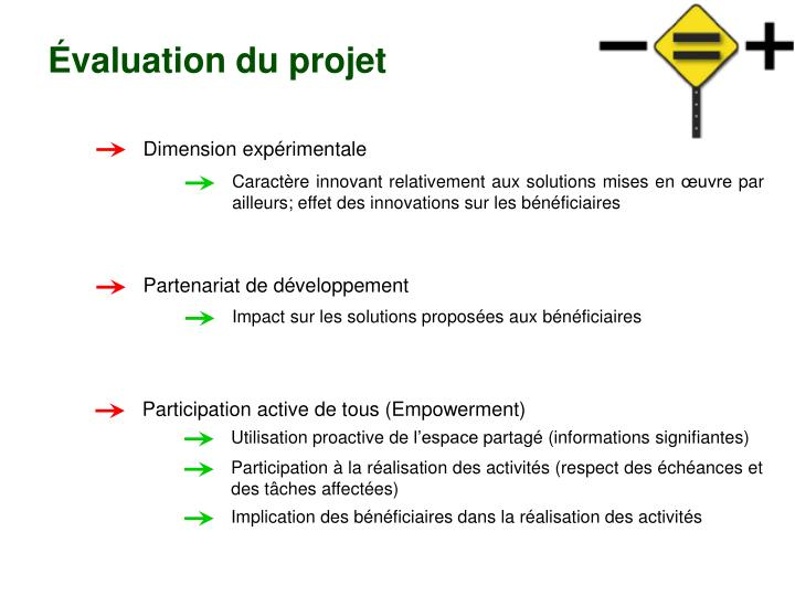 Évaluation du projet