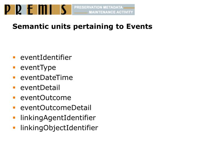 Semantic units pertaining to Events