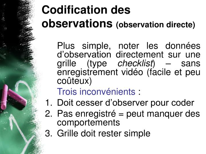 Codification des observations