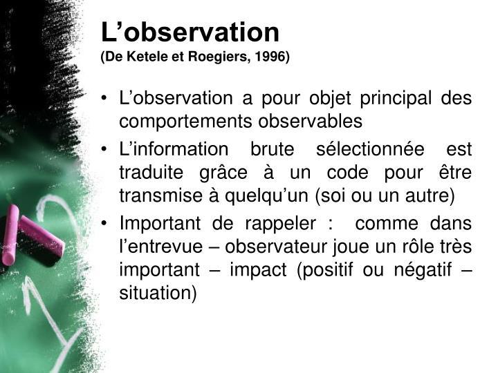 L'observation