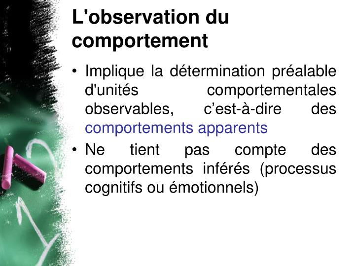 L'observation du comportement